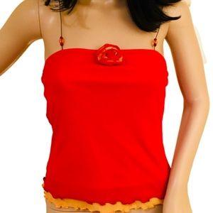 NWOT Stunning Red & Orange 100% Nylon Layered Top!